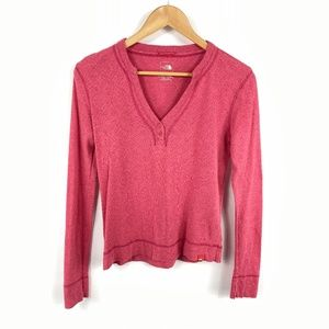 The North Face Pink Long Sleeve V Neck Tee 3604